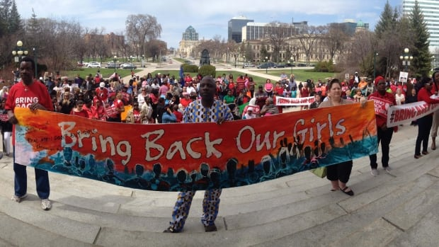 Around 300 people were present for the Bring Back our Girls rally at the Manitoba Legislature Sunday.