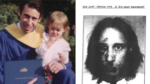 Donald Kushniruk, shown on the left in a family photo and on the right in a note he carried around with him years later. His family said that his mental health deteriorated swiftly before he committed suicide in custody last year.