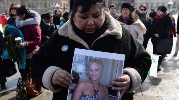 Sharon Armstrong, of Ottawa, takes part in a vigil on Parliament Hill in Ottawa on Wednesday, March 5, 2014, for Loretta Saunders and to call for a national inquiry into missing and murdered aboriginal women. Not all aboriginal women's group are sure that's necessary.