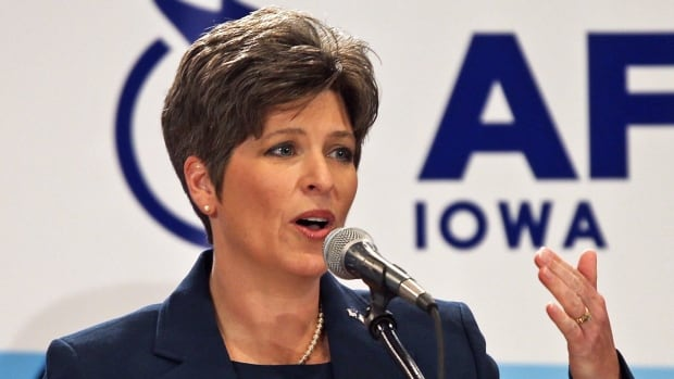 Joni Ernst, shown during a debate in October 2013, released a provocative TV ad about how her experience castrating hogs on her family farm will be useful in Washington if she wins a U.S. Senate seat. The TV spot transformed her campaign and she is now a frontrunner in the Republican primary race that will be decided June 3.