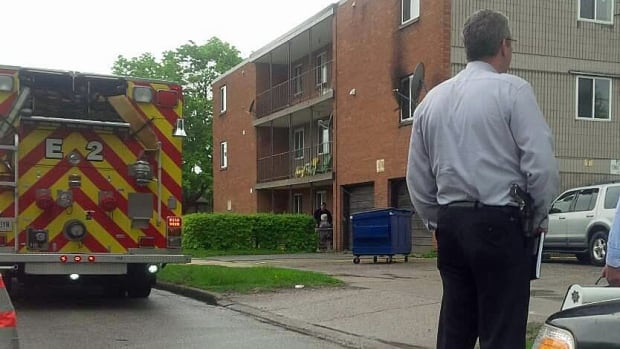 A man is dead at the scene a fire in a west-end apartment complex.