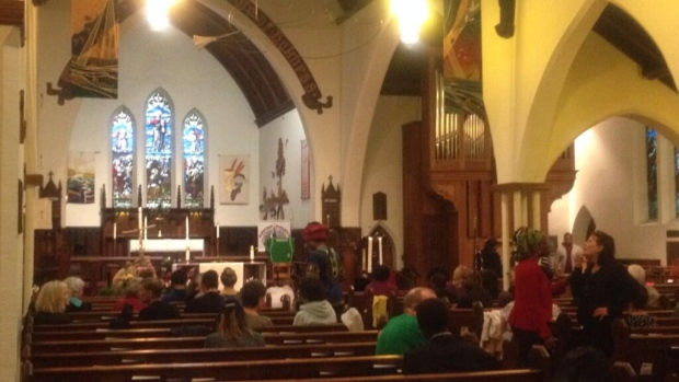 Residents gather at All Saints Anglican Church to draw attention to kidnapped girls in Nigeria.