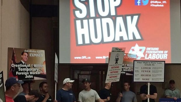 Labour leaders from across Ontario rallied in Windsor, where more than 500 people were at the Caboto Club on Tuesday night for a 'Stop Hudak' event.