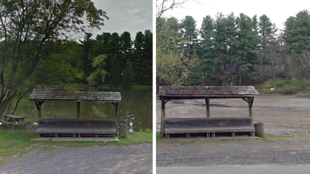 A side by side comparison of Pine Lake before the dam broke, and the mudflats that remain behind today.