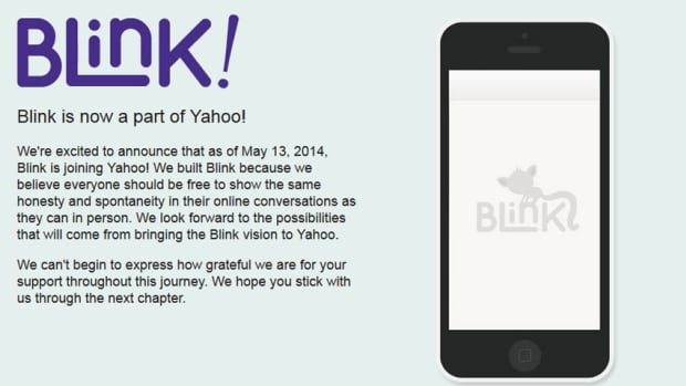 Message on the website of messaging app Blink announces the sale to Yahoo. Terms were not disclosed.