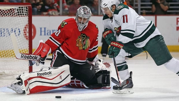 Blackhawks goalie Corey Crawford has been strong in these playoffs, making 27 saves in Game 5, helping his team rally for a 2-1 win over Minnesota and a 3-2 series lead. Then he made 34 more stops in a 2-1 win at Minnesota on Tuesday, keeping his team in the game until Patrick Kane notched the series-clinching goal in overtime.