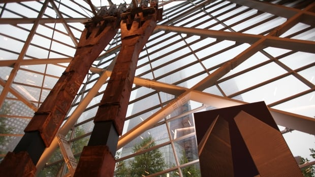 Two tridents from the original World Trade Center are on display inside the National September 11 Memorial Museum before a dedication ceremony at the museum Thursday, May 15, 2014, in New York. The museum will open to the public on May 21.
