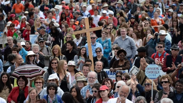People take part in the March For Life on Parliament Hill in Ottawa on May 8.