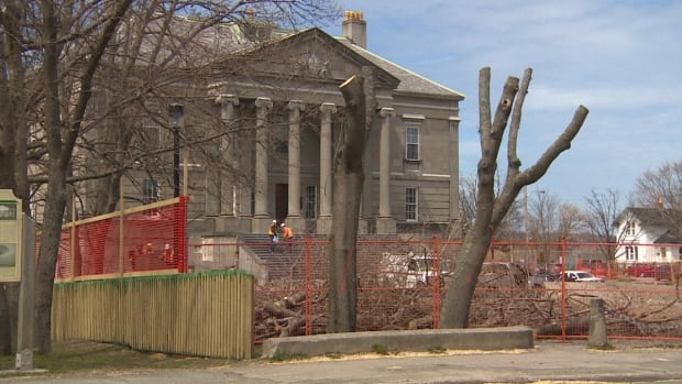 The trees surrounding the Colonial Building in St. John's were cut down on Thursday as part of ongoing renovations by the provincial government.