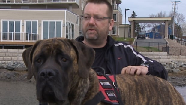 David Peavey, an 18-year military veteran with PTSD, faces eviction for having a service dog in his apartment building.