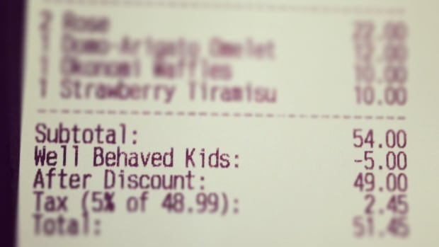 A Calgary family received a $5 'well-behaved kids' discount on their bill during a Mother's Day brunch.