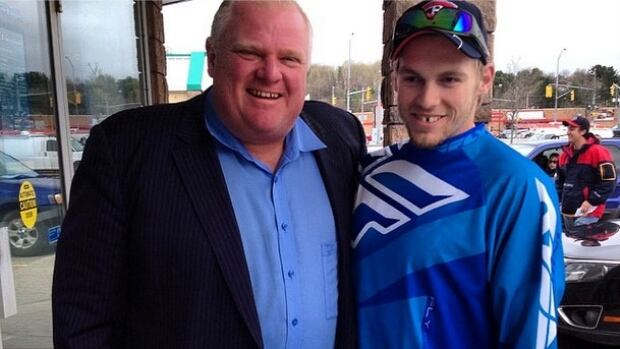 Toronto Mayor Rob Ford was reportedly spotted talking to residents outside of a bank in Bracebridge, Ont., on Friday.