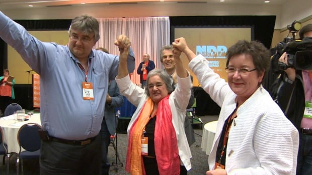 NDP Leader Lorraine Michael is flanked by MHAs George Murphy and Gerry Rogers after Michael's leadership was endorsed by party delegates Saturday afternoon in St. John's.