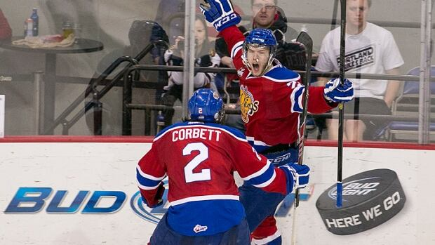 Edmonton Oil Kings' Mads Eller celebrates after scoring a goal in Game 7 of the Western Hockey League championship against the Portland Winterhawks.