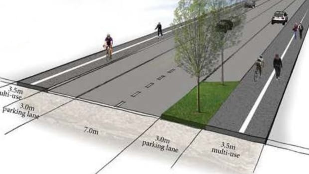 The illustration above shows that the raised bike lanes would work as widened sidewalks that both cyclists and walkers would use.