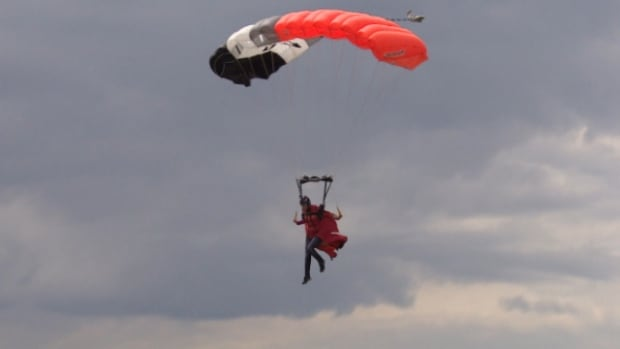 Roberta Mancino flies into the Edmonton Skydive facility over the weekend.