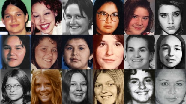 These images are of 18 women and girls whose deaths and disappearances are part of the RCMP's investigation of the Highway of Tears in British Columbia. The women were either found or last seen near Highway 16 or near Highways 97 and 5. From left to right: (Top row) Aielah Saric Auger, Tamara Chipman, Nicole Hoar, Lana Derrick, Alishia Germaine, Roxanne Thiara; (Middle) Ramona Wilson, Delphine Nikal, Alberta Williams, Shelley-Anne Bascu, Maureen Mosie, Monica Jack; (Bottom row) Monica Ignas, Colleen MacMillen, Pamela Darlington, Gale Weys, Micheline Pare, Gloria Moody.