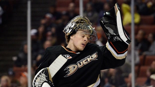 Anaheim Ducks goalie Jonas Hiller reacts during a tough outing on April 4 against Nashville.