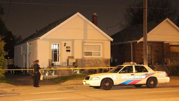 A man and a woman were shot at a home on St. Clair Avenue East late Monday night.