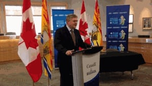 Premier David Alward at the federal gas tax announcement in Riverview