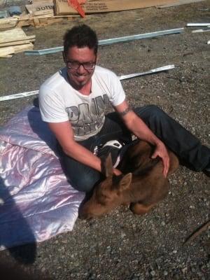 Stephan Desgroseillers and baby moose