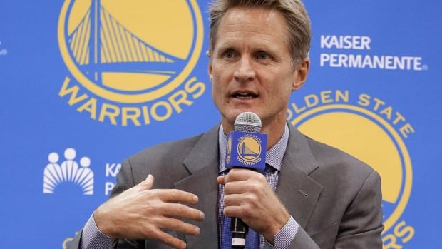 Warriors coach Steve Kerr gestures during a news conference Tuesday in Oakland, Calif. Kerr, who has never coached at any level, served as general manager of the Phoenix Suns from 2007-10 before going back to broadcasting.