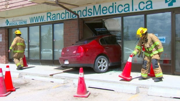 A car went through the window of a medical building in the northwest Calgary neighbourhood of Ranchlands.