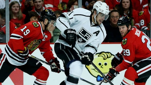 Kings centre Anze Kopitar, middle, and his linemates Dustin Brown and Marian Gaborik got shut down by Chicago's Jonathan Toews, left, and his linemates in a 3-1 Game 1 loss in the NHL Western Conference final. Los Angeles will be looking for more production from a trio that has 16 goals and 24 assists in these playoffs.