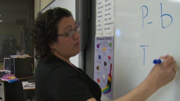 Doris Googoo's Grade 8 class is part of a pilot project to bring Mi'kmaq to junior high.