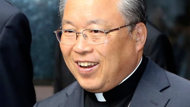 South Korean Roman Catholic Cardinal Andrew Yeom Soo-jung leaves for an inter-Korean joint factory park in Kaesong, North Korea for a one-day visit at Myeong-dong Cathedral in Seoul, South Korea, on Wednesday.