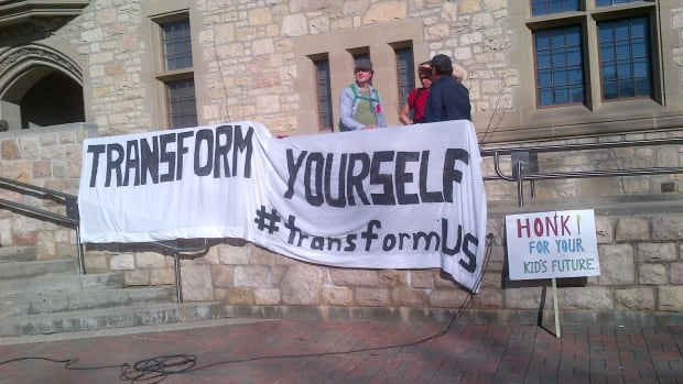 Protestors take aim at U of S administration for its handling of the TransformUS cost-cutting project.
