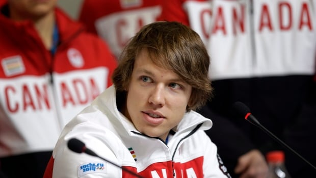 Mathieu Giroux, shown in Sochi, combined with Denny Morrison and Lucas Makowsky to win gold in Vancouver in team pursuit.