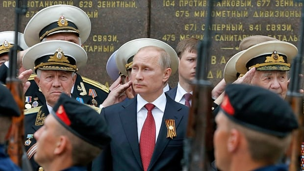 Russian President Vladimir Putin attends the ceremony marking Victory Day, to celebrate the collapse of Nazi Germany, earlier this month in the Crimean city of Sevastopol. Given recent events, perhaps he was thinking of a different kind of victory?
