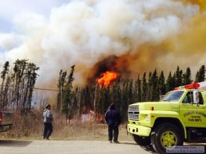 Two forest fires burned near the community of Stanley Mission on Thursday