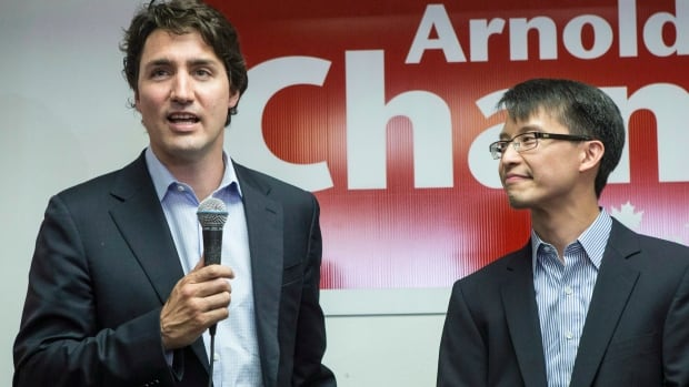 Liberal Leader Justin Trudeau speaks to supporters as he visits the Liberal candidate for Scarborough-Agincourt, Arnold Chan, at his campaign office in Toronto on May 21.