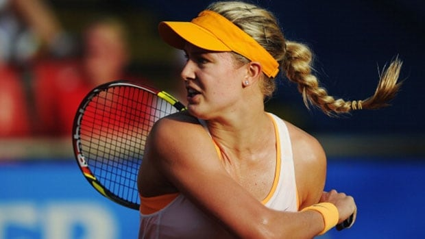 Canadian Eugenie Bouchard defeated Yaroslava Shvedova of Kazakhstan 7-6 (3), 7-6 (6) on Thursday in Germany.
