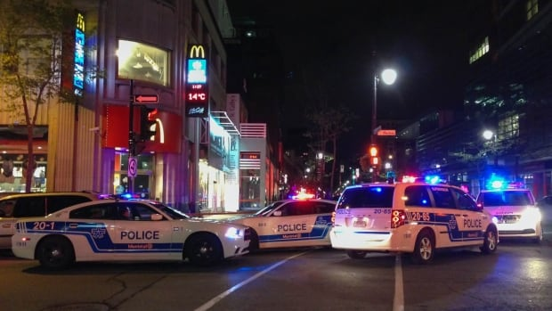 Police have four suspects in custody after a late night stabbing at a McDonald's restaurant at the corner of Mackay Street and Ste-Catherine Street West.