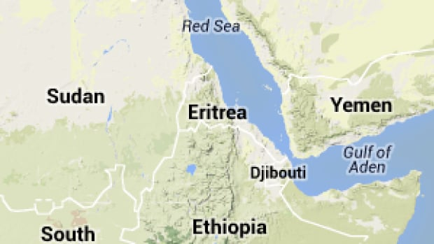 A map showing the country of Eritrea.