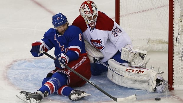 Dustin Tokarski (35) of the Canadiens denies Rick Nash in a 3-2 overtime victory over the Rangers in Game 3 on Thursday.