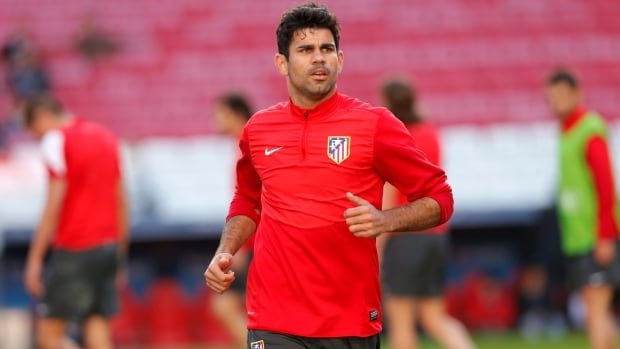 Atletico's Diego Costa, runs, during a training session in Lisbon earlier in the week.