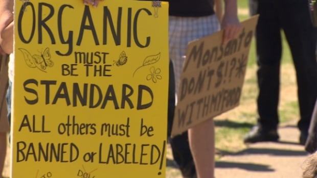 On Saturday, Edmontonians rallied at the End of Steel Park for the second annual March Against Monsanto, calling for a permanent boycott of genetically modified organisms (GMOs) and other harmful chemicals.