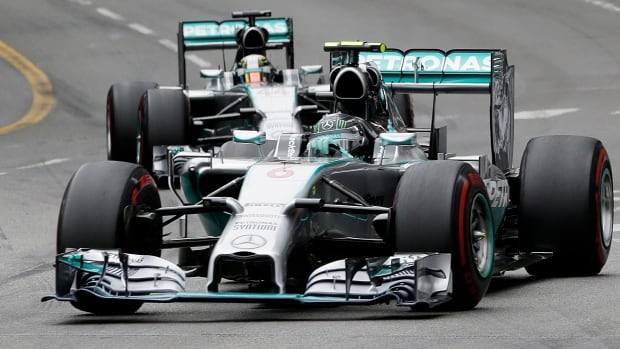 Mercedes driver Nico Rosberg of Germany leads his teammate Mercedes driver Lewis Hamilton of Britain during the Monaco Formula One Grand Prix on Sunday.