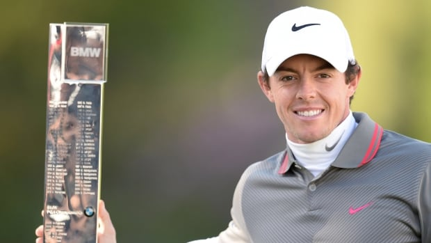 Northern Ireland's Rory Mcilroy celebrates winning the BMW PGA Championship at the Wentworth Club, Virginia Water, England on Sunday.