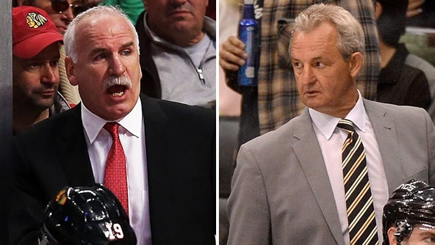 Chicago's Joel Quenneville, left, and L.A.'s Darryl Sutter are looking for simple solutions in Game 4 of their series.