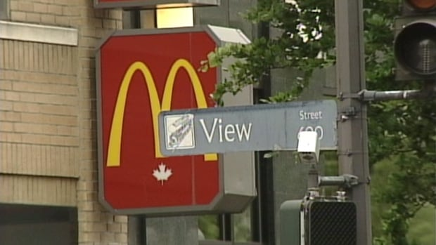 Victoria police say an infant with a 21-year-old man was unresponsive when paramedics found them at this downtown Victoria McDonald's Saturday morning. The 21-year-old has since been charged with manslaughter.