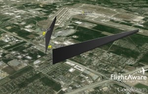 Flight Aware Google Earth image - United flights 601 and 437