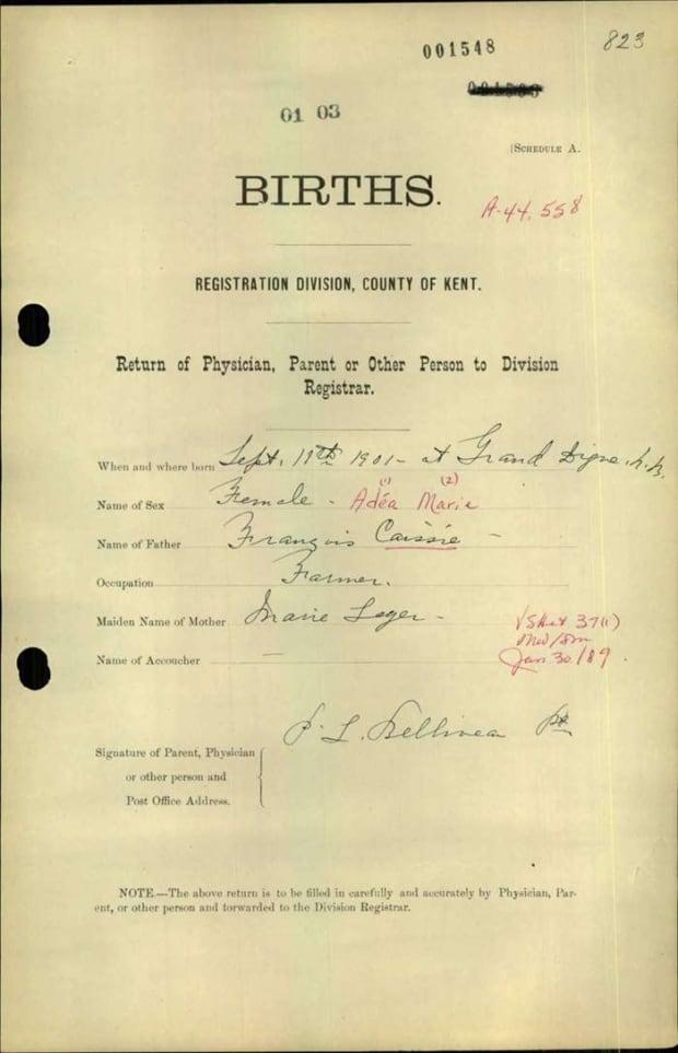 Adéa Pellerin-Cormier's birth certificate