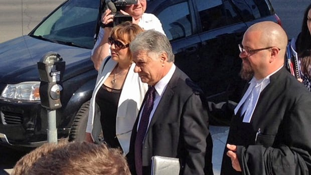 Mayor Joe Fontana arrives at the courthouse in London, Ont., on Monday for his trial on fraud charges stemming from his time as an MP. He's accused of using taxpayer dollars to help pay for his son's wedding reception in 2005.