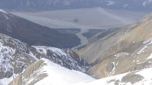 A view of the area in Kluane National Park where searchers spent three days last week looking for human remains. The bones have yet to be formally identified, but RCMP have confirmed that a backpack and camping gear found near the area included ID that belonged to Till Moritz Gerull, a German man who went missing in Yukon in 2011.