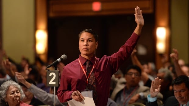 Matthew Louie of B.C.'s Cowichan Tribes votes as First Nations leaders, elders, youth and delegates gather for the Assembly of First Nations Special Chiefs Assembly in Ottawa on Tuesday.